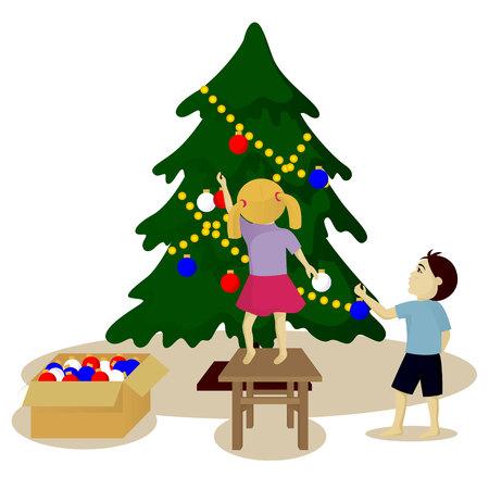 harland: Children decorate Christmas tree vector illustration isolated on white Illustration