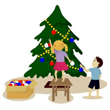 Children decorate Christmas tree vector illustration isolated on white Illustration