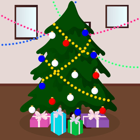 decorated Christmas tree with gifts vector illustration Illustration