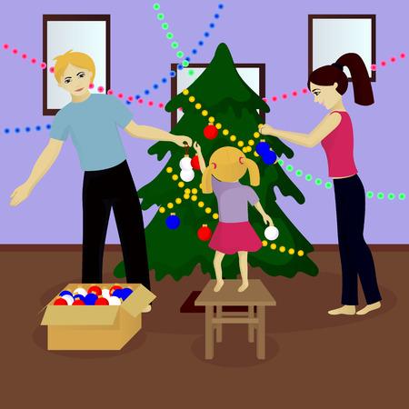 Family decorate Christmas tree vector illustration Illustration