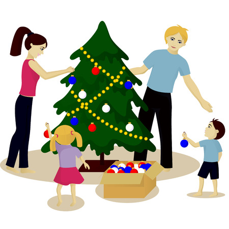 harland: Family decorate Christmas tree vector illustration isolated on white
