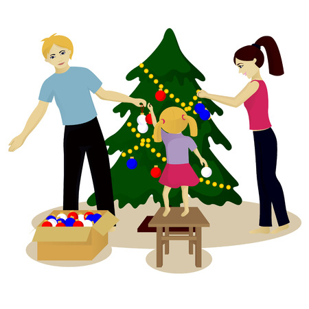 Family decorate Christmas tree vector illustration isolated on white