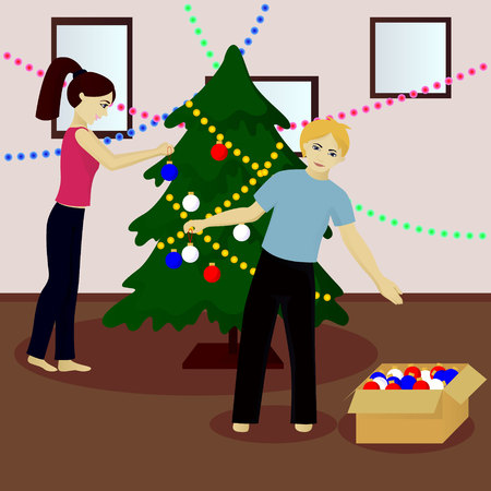 Young family decorate Christmas tree vector illustration Illustration