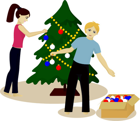 Young family decorate Christmas tree vector illustration isolated on white Illustration