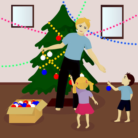 Father with children decorate Christmas tree vector illustration