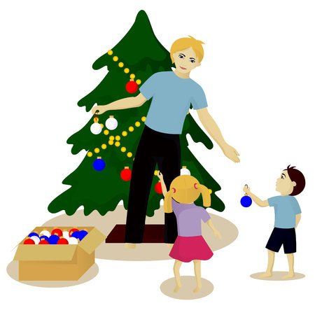 Father with children decorate Christmas tree vector illustration isolated on white
