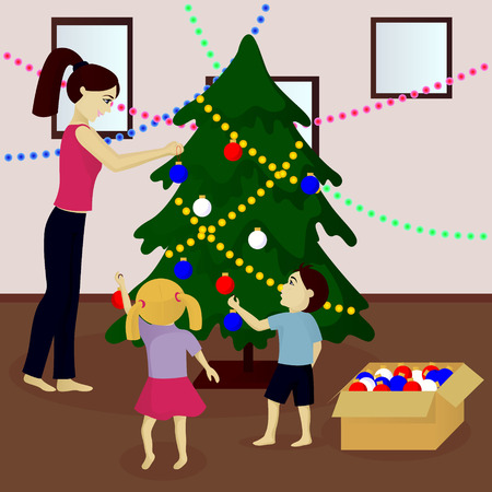 Mother and children decorate Christmas tree vector illustration