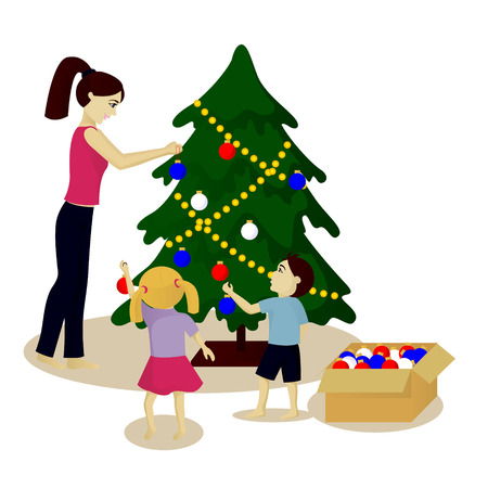 Mother and children decorate Christmas tree vector illustration isolated on white Illustration