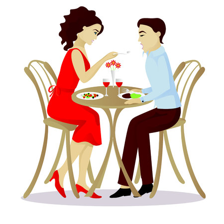 dinner date: Date vector illustration isolated on white Illustration