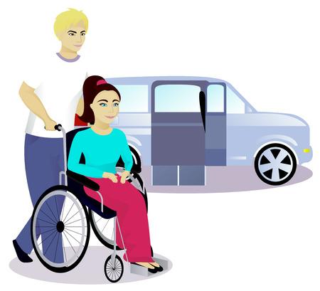niña con discapacidad en silla de ruedas de un coche con una rampa, ilustración vectorial