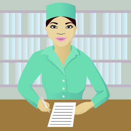 Vector illustration of nurse on post
