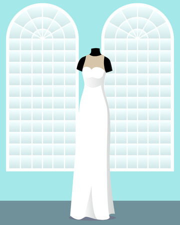 direct: direct wedding dress on mannequin in saloon vector illustration