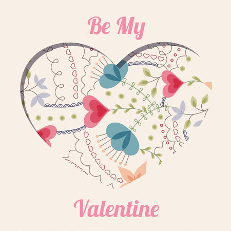 Vector be my valentine floral card