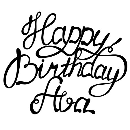 Vector Happy birthday Ava name lettering Stock Vector - 68435089