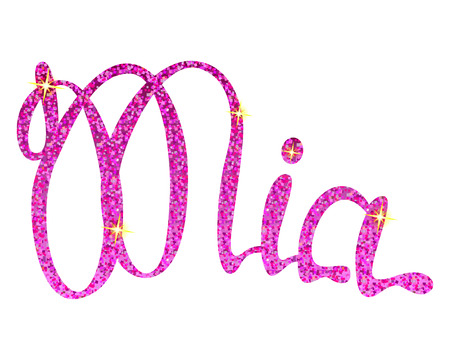 Vector Mia name lettering pink tinsels