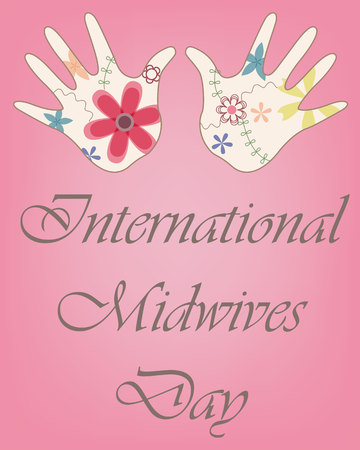 Vector international midwives day with baby hands vintage