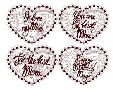 mammy: Hearts with lettering to mother vector illustration