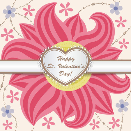 carboard box: Vector Happy St valentines day card with heart on ribbon