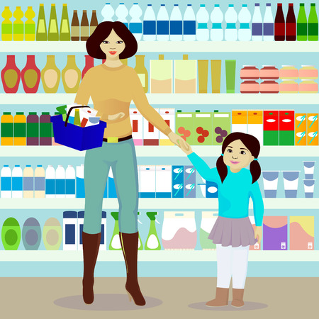Mother and daughter in grocer