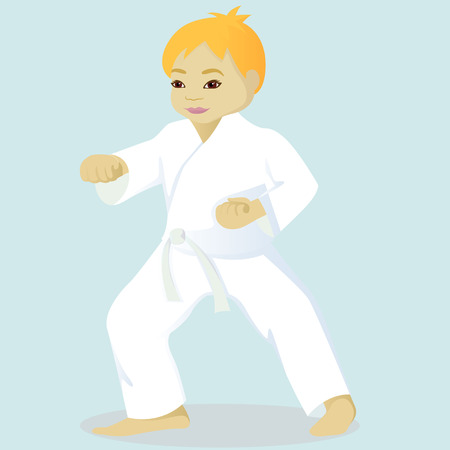 engaged: Little boy is engaged in karate
