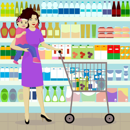 mayonnaise: Mother and daughter in grocer
