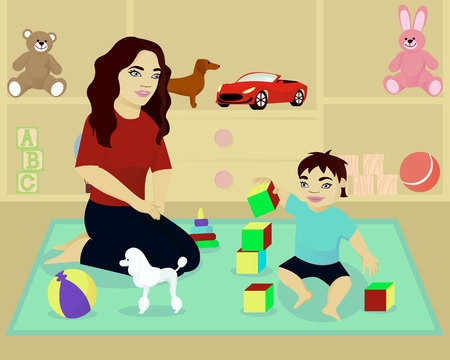 Mother play with baby in room Ilustrace