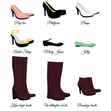ankle strap: Shoes set Illustration