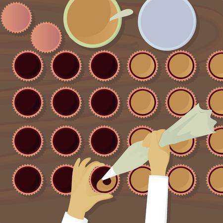confectioner: Chocolatiers candy fills cream top view top view vector illustration