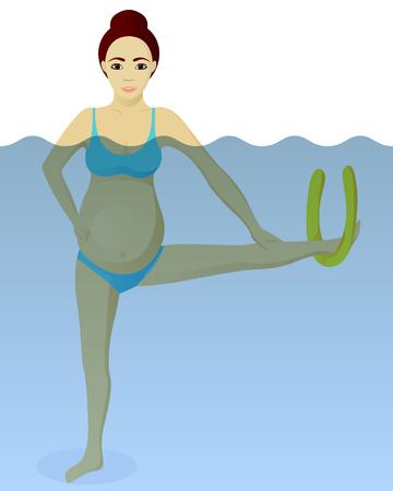 Aqua aerobics for pregnant vector illustration Illustration