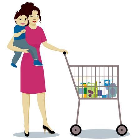 Madre y bebé con la carretilla de la tienda.