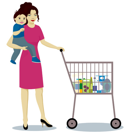 Mother and baby boy with shop trolley. Illustration