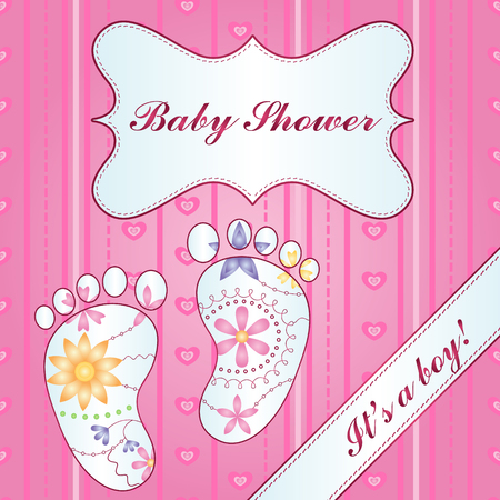 A background with feet baby shower girl gradient Illustration