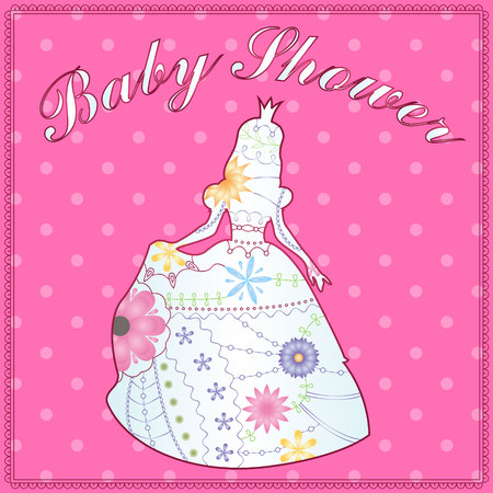 multiplicar: Isolated princess gradient silhouette baby shower Vectores
