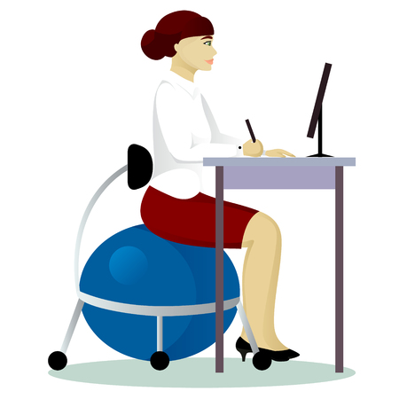 Isolated woman sit on fitball at work vector