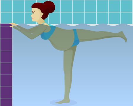 Aqua aerobics for pregnant vector illustration Çizim