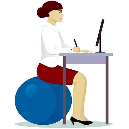 fitball: woman in office on fitball isolated vector illustration