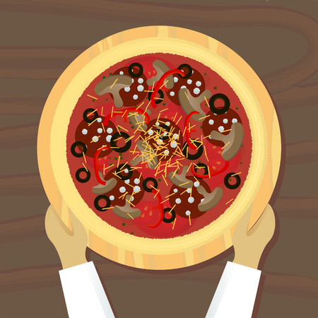 ready pizza on board top view vector illustration