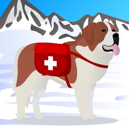 St Bernard dog lifesaver in mountains vector illustration
