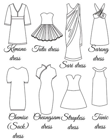 Styles of dresses set outline