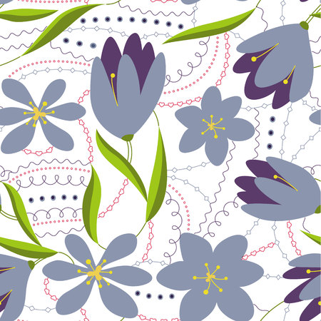 Crocuses flower colorful on white vector Illustration