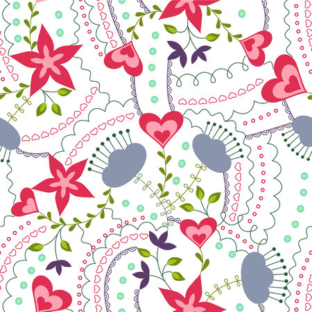 Hearts and flowers colorful on white vector