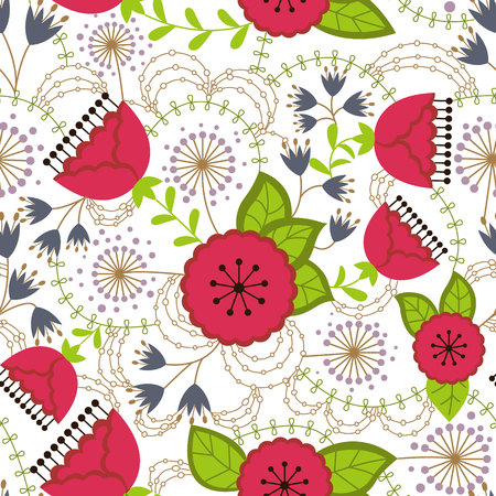 Poppy and dandelion pattern colorful on white vector