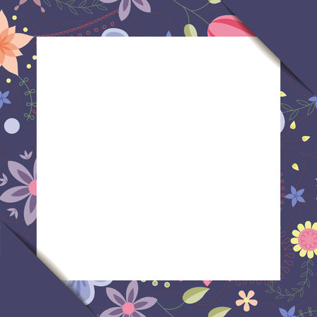 White paper sheet in floral frame vector Illustration