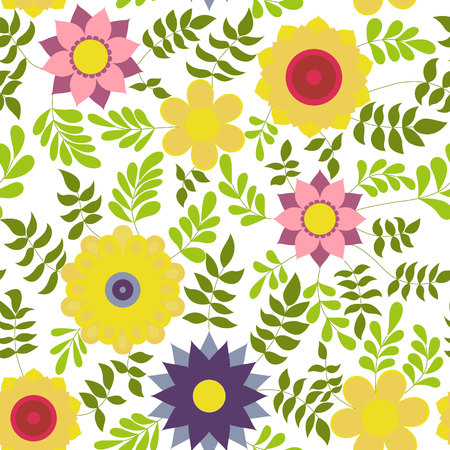 flower colorful on white vector