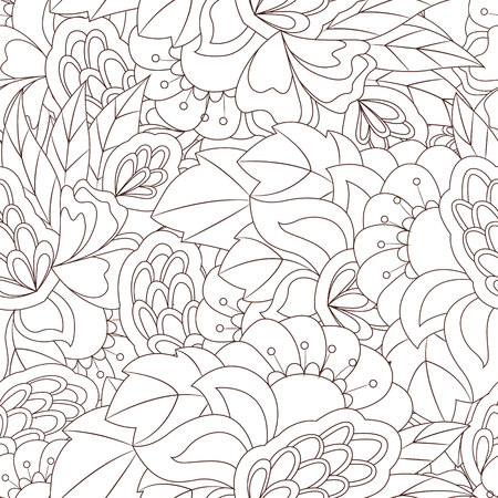 Seamless pattern with abstract flower elements