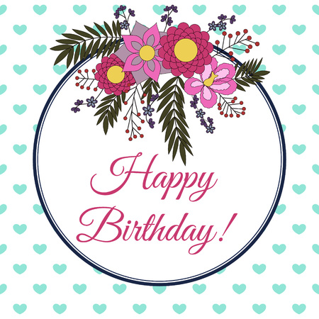 Birthday card with abstract flower elements vector colorful