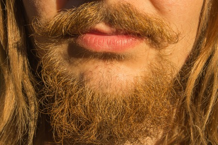 Mans mustache and beard close-up photo Stock Photo