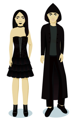 teenagers boy and girl in goth style vector