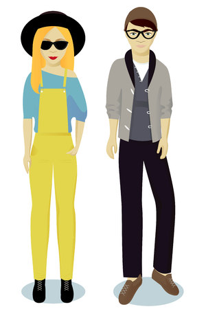 teenagers boy and girl in hipster style vector