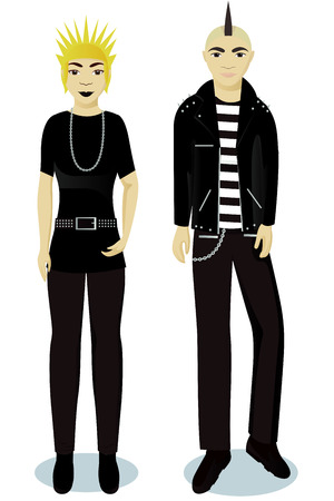 teenagers boy and girl in punk style vector Illustration